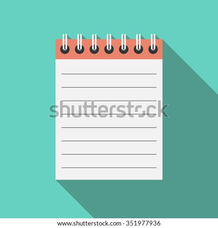 Notebook with spiral binder. Blank open notepad with lines on turquoise blue background with long shadow. Flat style. EPS 8 vector illustration, no transparency
