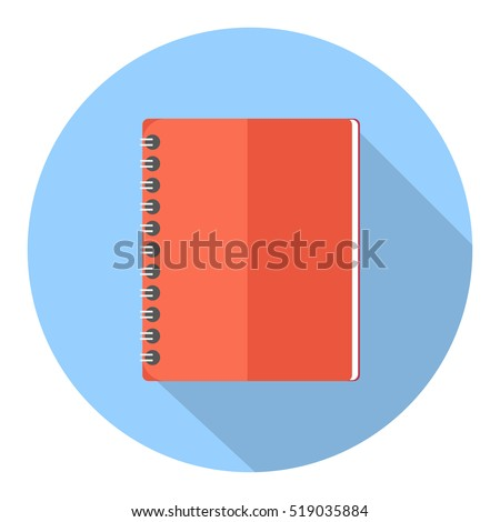 Notebook with spiral binder long shadow flat icon.