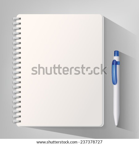Notebook with white ballpoint pen. Vector illustration