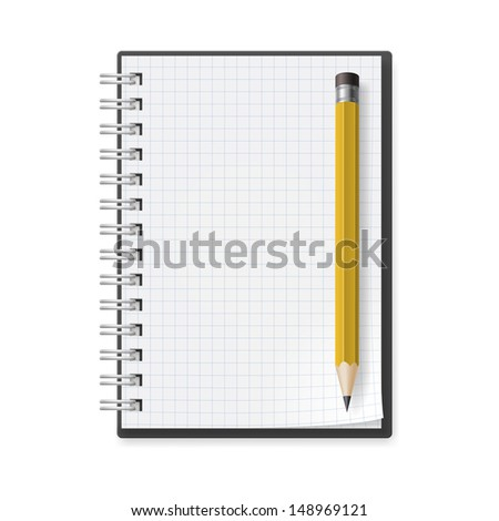 Notebook with yellow Pencil. Illustration on white background for design