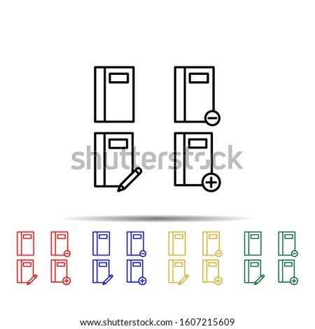 notebook, write, plus, minus sign multi color style icon. Simple thin line, outline vector of web icons for ui and ux, website or mobile application