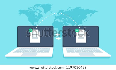 Notebooks file transfer. Data transmission, ftp files receiver and notebook computer backup copy. Document pc migration, network laptop file sharing isometric vector concept