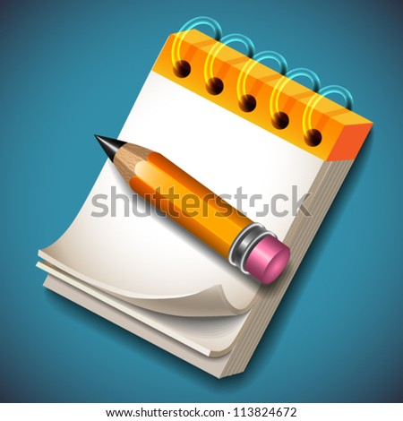 Notepad and pencil icon - vector illustration for your business presentations.