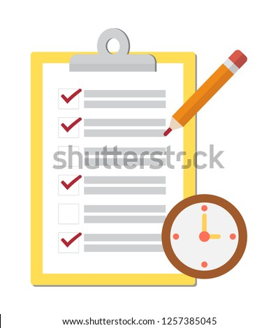 Notepad Checklist, complete tasks, to-do list, survey, exam concepts. Design by Inkscape