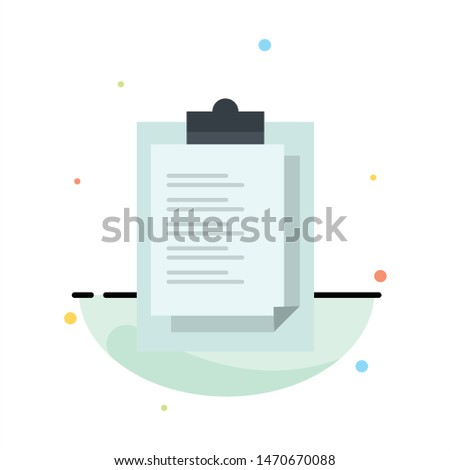 Notepad, Report Card, Result, Presentation Abstract Flat Color Icon Template. Vector Icon Template background