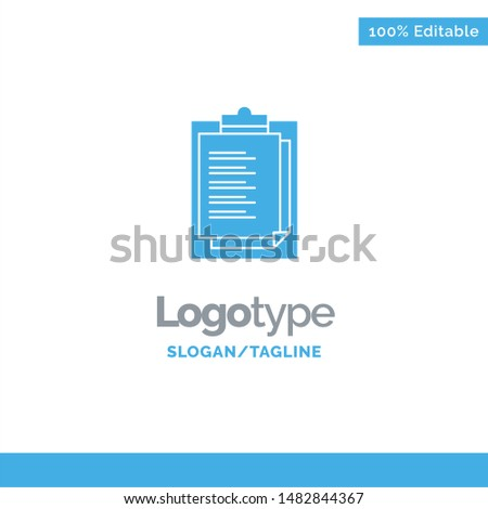 Notepad, Report Card, Result, Presentation Blue Solid Logo Template. Place for Tagline