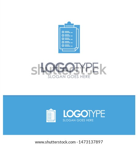 Notepad, Report Card, Result, Presentation Blue Solid Logo with place for tagline
