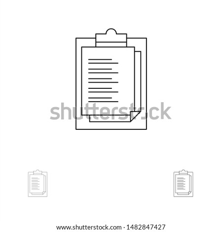 Notepad, Report Card, Result, Presentation Bold and thin black line icon set
