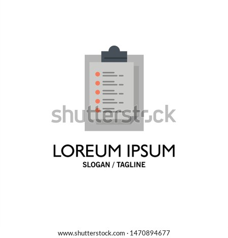 Notepad, Report Card, Result, Presentation Business Logo Template. Flat Color. Vector Icon Template background