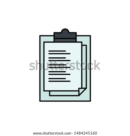 Notepad, Report Card, Result, Presentation  Flat Color Icon. Vector icon banner Template. Vector Icon Template background