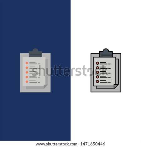 Notepad, Report Card, Result, Presentation  Icons. Flat and Line Filled Icon Set Vector Blue Background