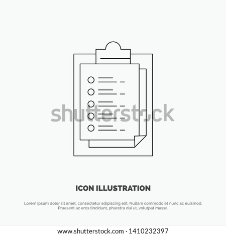 Notepad, Report Card, Result, Presentation Line Icon Vector