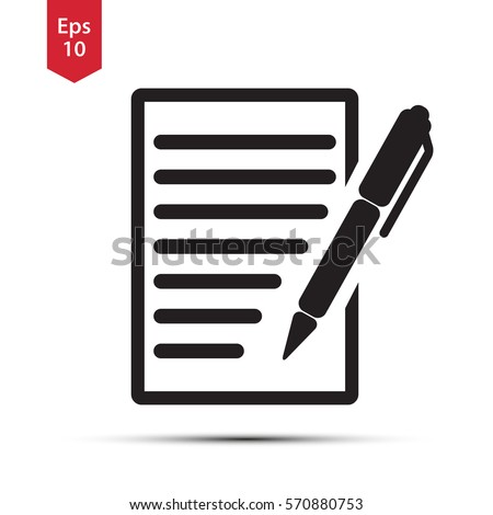 Notepad Symbol. Simple Flat Icon Of Paper And Pen. Notebook With Some Text. Vector Illustration