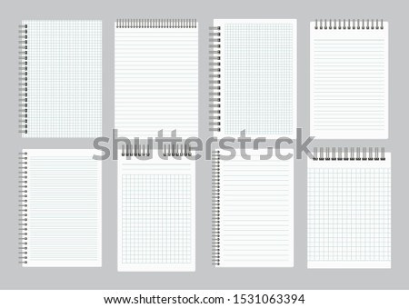 Notepads with empty lined and checkered paper with binder iron spiral. Set of eight notebooks sheets. Vector illustration