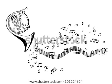 Notes and french horn - stock vector