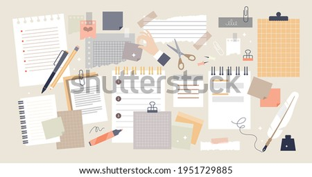 Notes and paper stationery for memos writing and reminders tiny persons set. Object collection for office work and business appointments vector illustration. Notepads, sheets and stickies elements. Stock photo ©