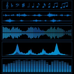 Notes and sound waves. Music background.