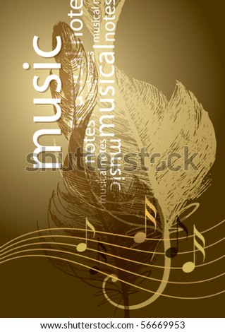 Notes and treble clef in the form of the bird's feather on the vintage background.