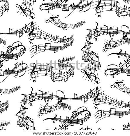 Notes music melody colorfull musician symbols sound melody seamless pattern background text writting audio symphony vector illustration