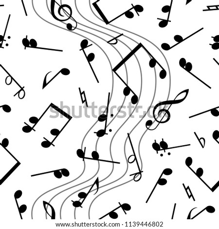 Notes on a solid white background for your design. Musical notes seamless pattern. Music  vector illustration without transparency. Isolated on white background