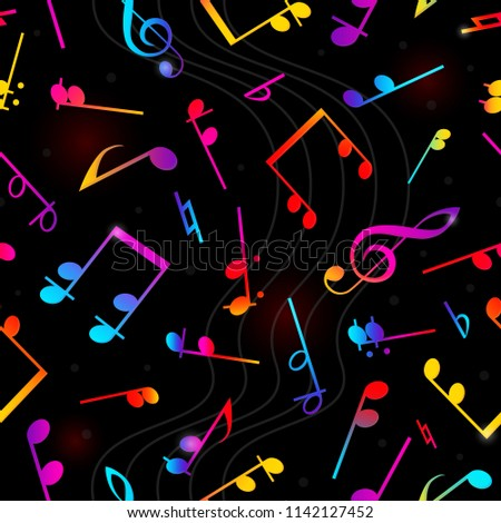 Notes on a solid white background for your design. Musical notes seamless pattern. Music  vector illustration without transparency