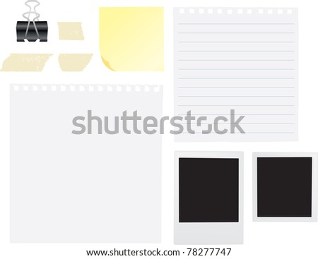 notes, tape, plain paper and notes for scrapbook or sketchbook as vectors