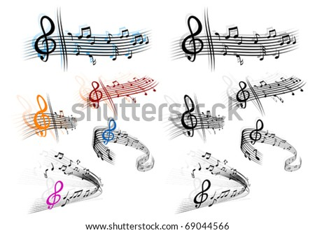 Notes with music elements as a musical background design. Jpeg version also available