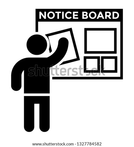 Notice board vector element, pictogram.