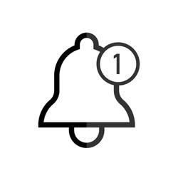 Notification bell icon. Alarm symbol. Alarm clock and smartphone application alert. Social media element. New message symbol flat style - stock vector