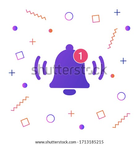 Notification bell icon for incoming inbox message. Vector ringing bell and notification number sign for alarm clock and smartphone application alert. 商業照片 ©