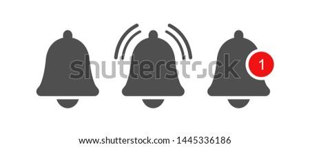 Notification bell icon, reminder message logo. Inbox notice. Vector design element. 商業照片 ©