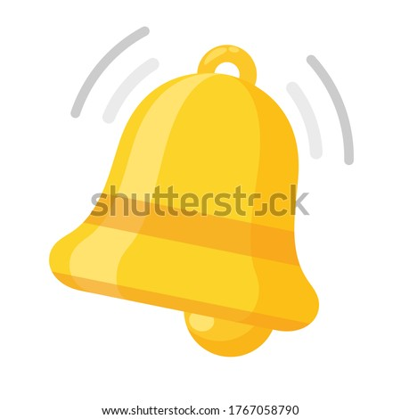 Notification bell icon. The golden alert bell is shaking to alert the upcoming schedule.