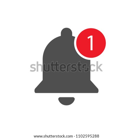 Notification bell icon with appreciation number symbol, social media Youtube  element black color. Vector illustration. EPS 10