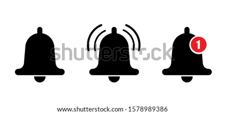 Notification bell or incoming inbox message vector icon. Vector ringing bell and notification number sign