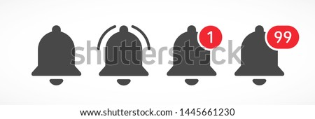 Notification bells social media. Message bell icon. Set bell symbols for web, app, ui. Social media concept. Vector illustration. EPS 10