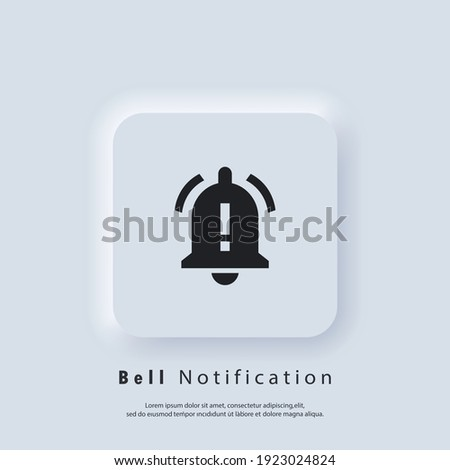 Notification icon. Bell notification and sound icons. Notification bell icon for incoming inbox message. Bell ring for alarm clock and smartphone application alert. Vector EPS 10. Neumorphic UI UX.