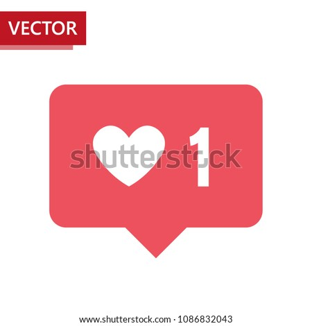 Notification icon like on Instagram counting new likes. Social media like button. Vector illustration. Rounded shape with white heart and number. For flat ui design.