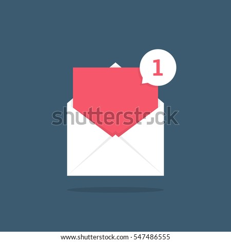 notification icon speech bubble in open letter. concept of ui, red empty space, mailbox, check list, writing, incoming, send data file. flat style trend modern logotype graphic design on background