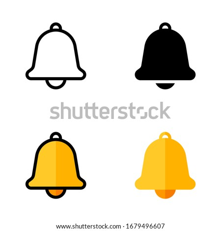 Notification Icon with Outline, Glyph, Filled Outline and Flat Style Photo stock ©