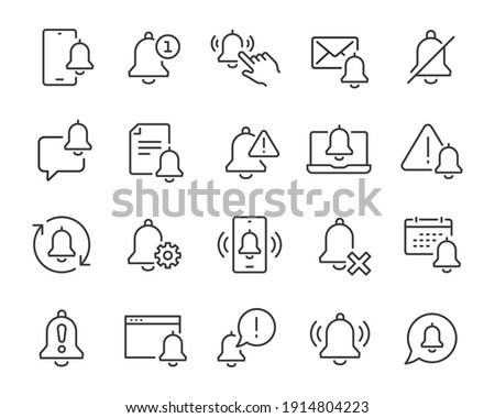 Notification icons set. Collection of simple linear web icons such as Phone Notifications, Remove Notifications, Attention, Document, Message, Settings Notifications and others Editable vector stroke.