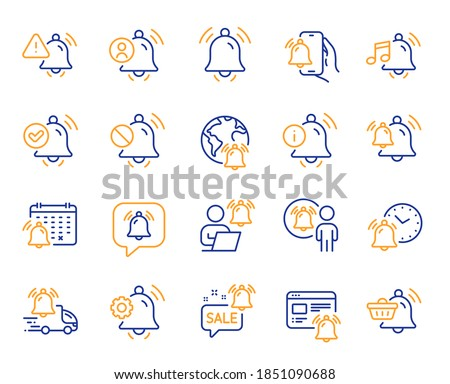 Notification line icons. Alarm Clock, Calendar Reminder, Notification Bell. User Message Alarm, Phone ring, Sale offer line icons. Time reminder, Delivery notification and calendar bell. Vector