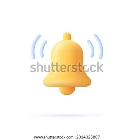 Notification message bell icon alert and alarm icon. 3d vector illustration.