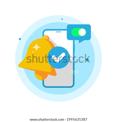 notification successfully enabled or turned on concept illustration flat design vector eps10. modern graphic element for landing page, empty state ui, infographic, icon Stock foto ©