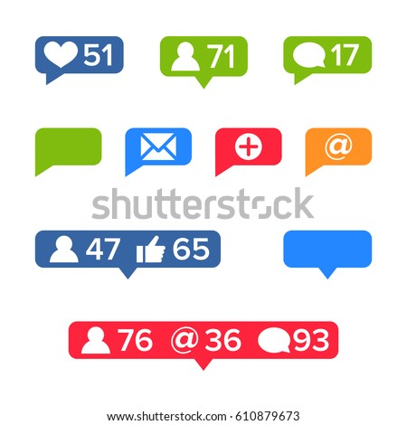 Notifications Icons Template Vector. Like symbol, Message and notification set. instagram icons