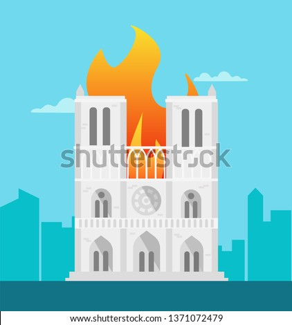 notre dame building is on fire