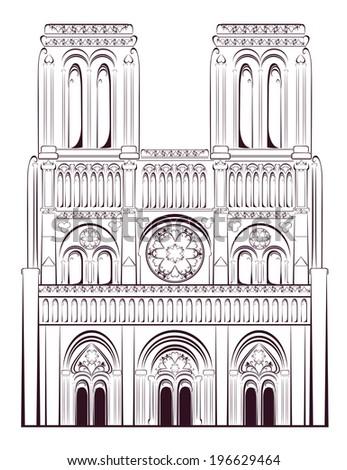 Notre Dame de Paris Cathedral in France. French travel landmark. Vector illustration.