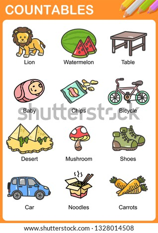 Nouns the can be  countable - Worksheet for education. Foto d'archivio ©