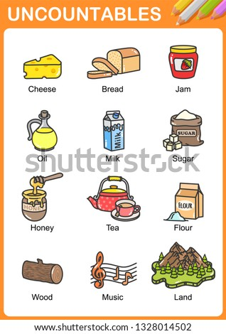 Nouns the can be  uncountable - Worksheet for education. Foto d'archivio ©