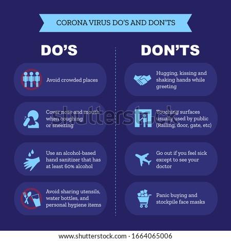 Novel corona virus 2019-ncov infographic do's and don'ts awareness socialization