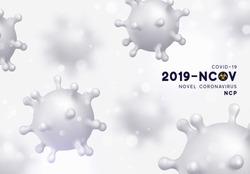 Novel Coronavirus (2019-nCoV). Virus Covid 19-NCP. Coronavirus nCoV denoted is single-stranded RNA virus. Background with realistic 3d white virus cells. vector illustration